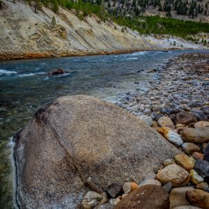 Yellowstone River Boulder, Yellowstone National Park, Wyoming