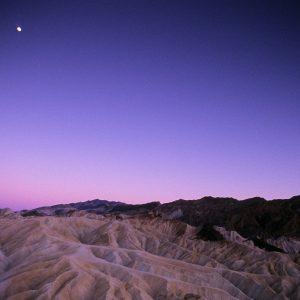 Evening Moon Over Zabriskie Point, Death Valley, CA