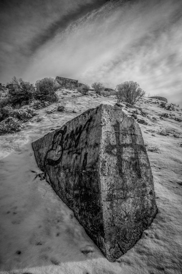 Concrete Buttress Below Tintic Reduction Mine, Genola, Utah (bw)