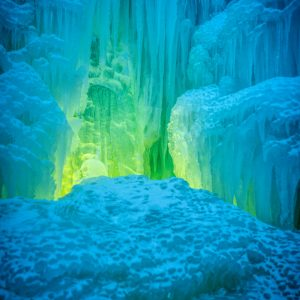 Green Glow in the Ice Castle, Midway, Utah