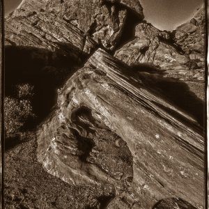 Hollowed Aztec Sandstone, Valley of Fire, Nevada bw border