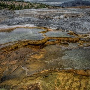 Mineral Deposit Pools at Mammoth Springs, Yellowstone National Park, Wyoming