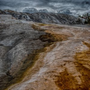 Ominous Clouds Over Mammoth Springs, Yellowstone National Park, Wyoming