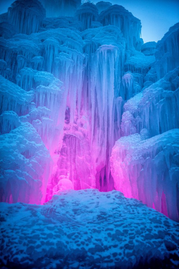 Pink Glow in the Ice Castle, Midway, Utah_