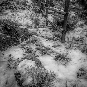 Rail Fence in Winter 2, Genola, Utah (bw)