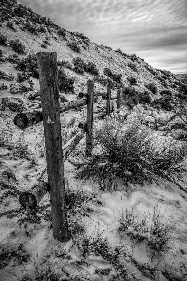 Rail Fence in Winter 3, Genola, Utah (bw)
