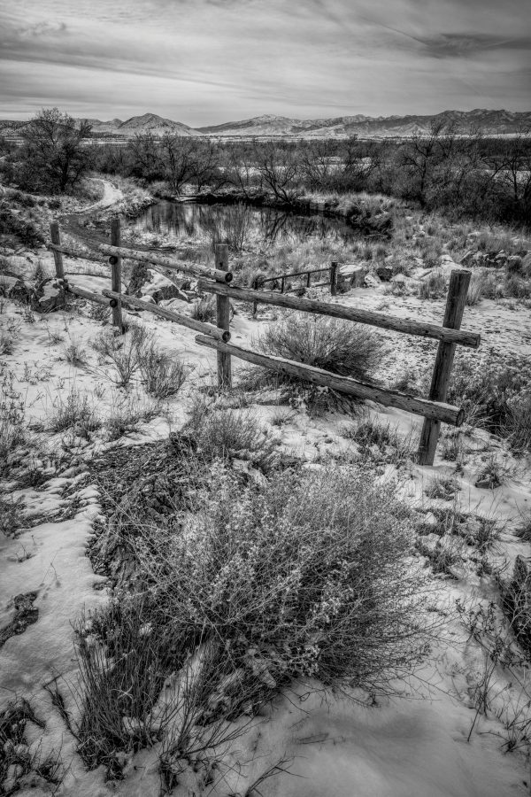 Rail Fence in Winter 4, Genola, Utah (bw)