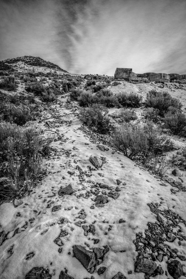 Rocky Path to Tintic Reduction Mine, Genola, Utah (bw)
