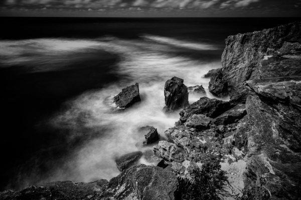 Rocky Shore Near Shipwreck Beach, Kauai, Hawaii bw