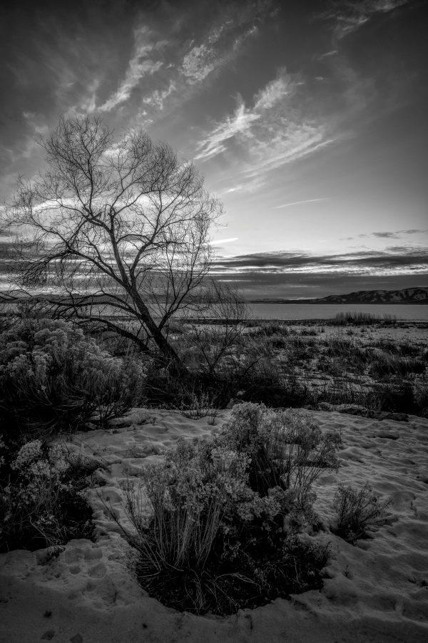 Utah Lake Sunset 4, Provo, Utah (bw)