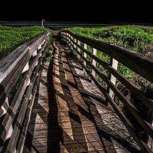 Walkway Bridge at Night, Padre Island, Texas