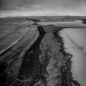 Winter Shoreline, Great Salt Lake, Utah (bw)_