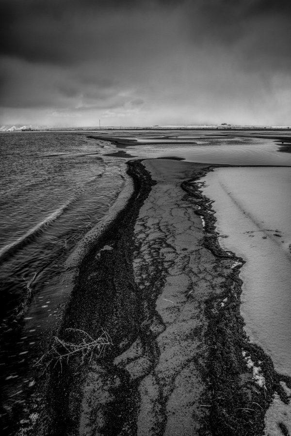Winter Shoreline, Great Salt Lake, Utah (bw)_