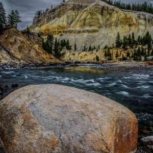 Yellowstone River Cliffs and Boulder, Yellowstone National Park, Wyoming new