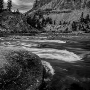 Yellowstone River Rapids, Yellowstone National Park, Wyoming bw