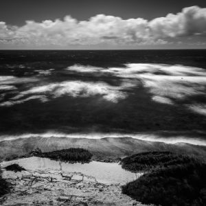 A View of Shipwreck Beach, Kauai, Hawaii #2 (bw)