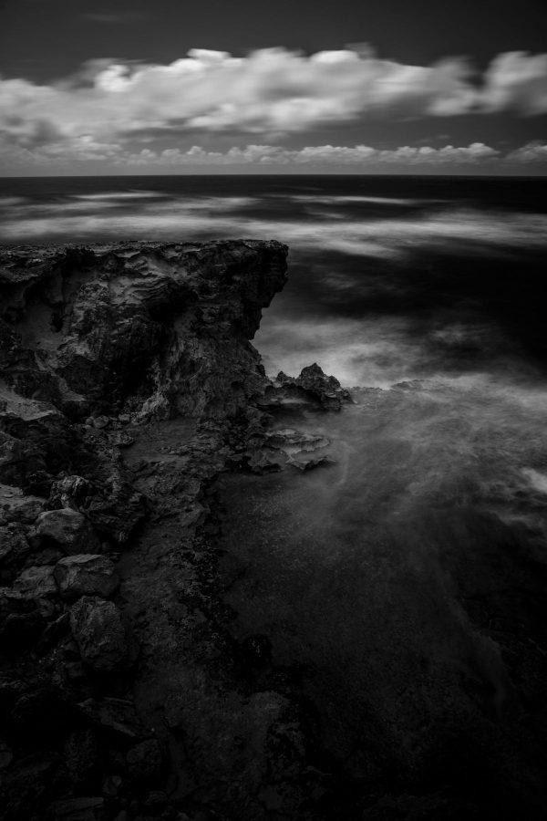 Cliffs Near Shipwreck Beach, Kauai, Hawaii bw