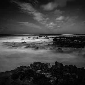 Rocky Shores of Poipu Beach, Kauai, Hawaii grain (bw) (1)